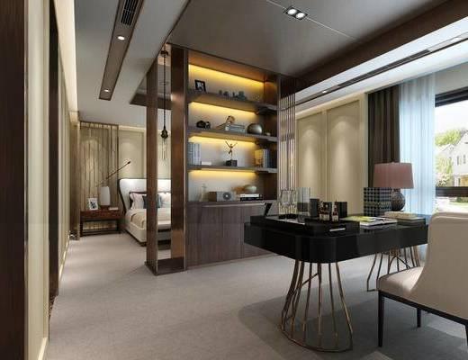 现代简约, 卧室, 床具组合, 桌椅组合, 置物柜