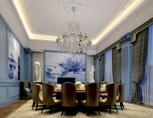 欧式饭厅, 餐桌, 餐椅, 吊灯, 壁画, 沙发单椅, 雕塑, 欧式