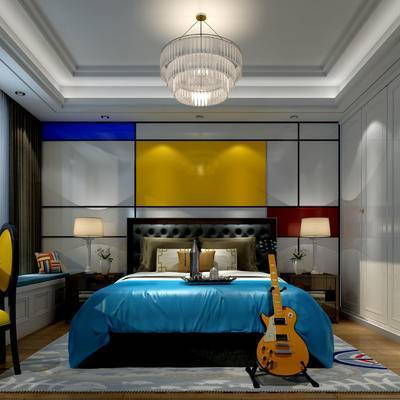 卧室, 双人床, 壁画, 吊灯, 桌子, 椅子, 衣柜, 花瓶, 美式