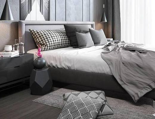 现代, 卧室, 床, 床头柜, 吊灯, 摆件, 书籍