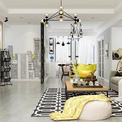 现代客厅, 茶几, 多人沙发, 电视柜, 壁画, 桌子, 椅子, 沙发凳, 置物架, 地毯, 现代