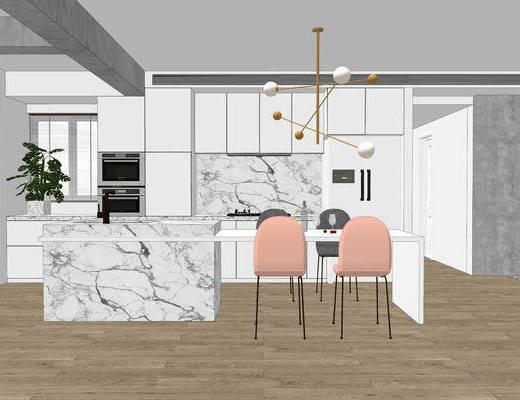 厨房, 北欧, 现代, 吊灯, 橱柜