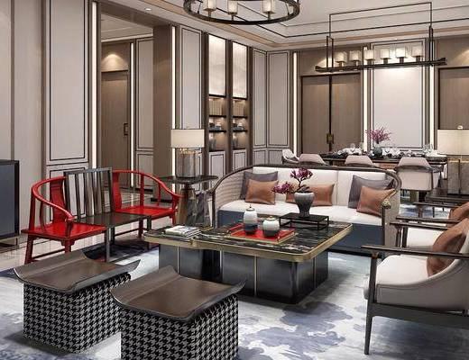新中式, 沙发茶几组合, 桌椅组合, 客餐厅