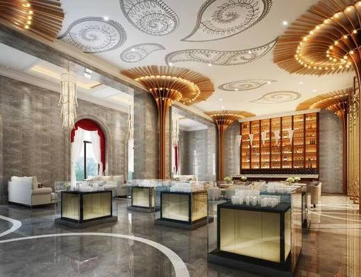 现代售楼部, 多人沙发, 吊灯, 展柜, 酒柜, 现代