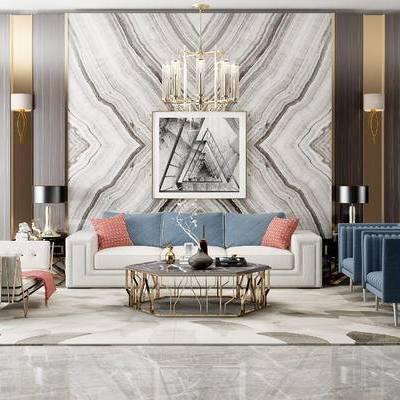 沙发组合, 多人沙发, 茶几, 椅子, 壁画, 吊灯, 边几, 台灯, 壁灯, 沙发躺椅, 地毯, 现代