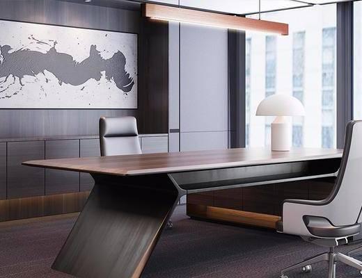 现代, 办公室, 办公桌, 办公椅, 吊灯, 台灯, 挂画, 装饰画, 1000套空间酷赠送模型