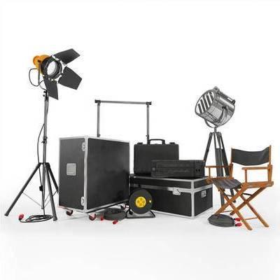 现代, 摄影棚, 灯光, 探射灯, 导演椅, 椅子, 休闲椅, 设备