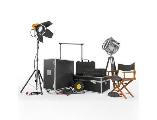 現代, 攝影棚, 燈光, 探射燈, 導演椅, 椅子, 休閑椅, 設備