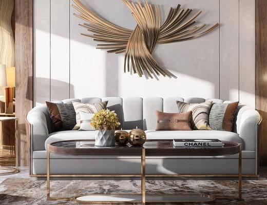 沙发组合, 多人沙发, 茶几, 边几, 台灯, 椅子, 现代