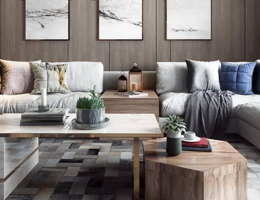 北欧沙发组合, 多人沙发, 壁画, 边几, 茶几, 吊灯, 椅子, 北欧