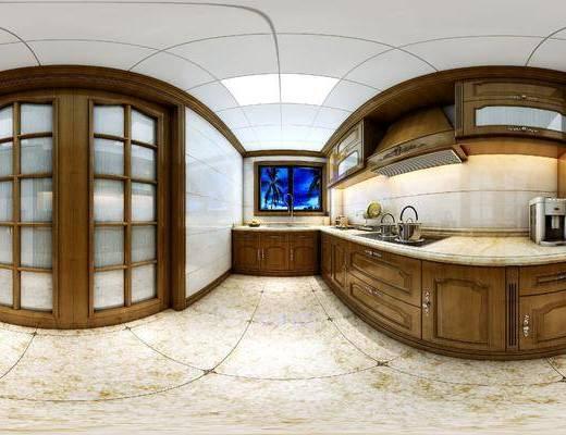 美式厨房, 橱柜, 厨具, 餐具, 储物柜, 冰箱, 美式