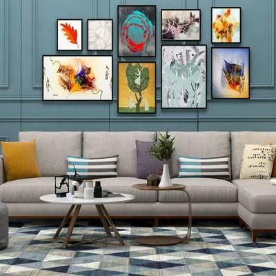 沙发组合, 边几, 台灯, 多人沙发, 壁画, 落地灯, 花瓶, 北欧