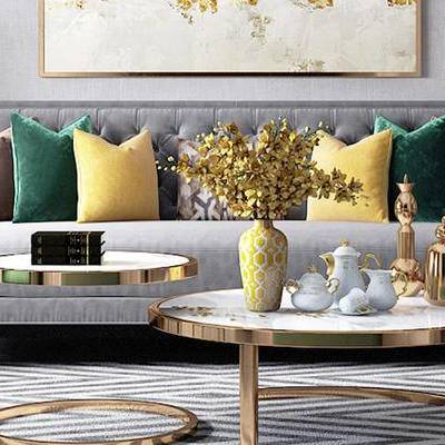 美式客厅, 多人沙发, 茶几, 椅子, 壁画, 花瓶, 边柜, 边几, 台灯, 美式