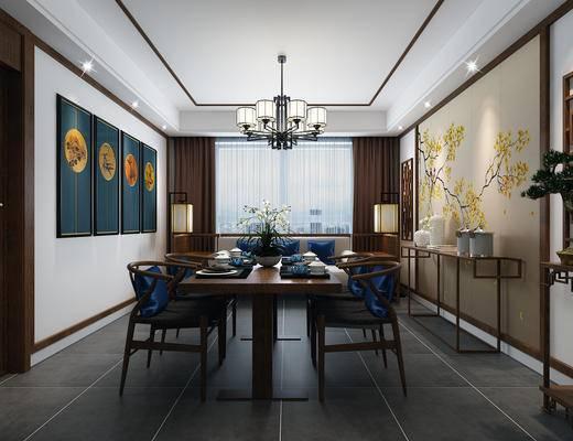 中式餐厅, 中式沙发, 吊灯, 壁画, 桌子, 椅子, 边几, 盆栽, 中式