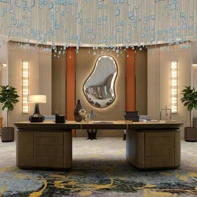 休闲区, 桌子, 台灯, 吊灯, 盆栽, 壁灯, 椅子, 现代