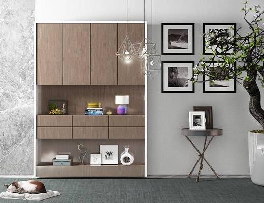 装饰柜, 边几, 壁画, 吊灯, 盆栽, 现代