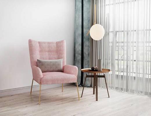 单椅, 边几, 吊灯, 北欧