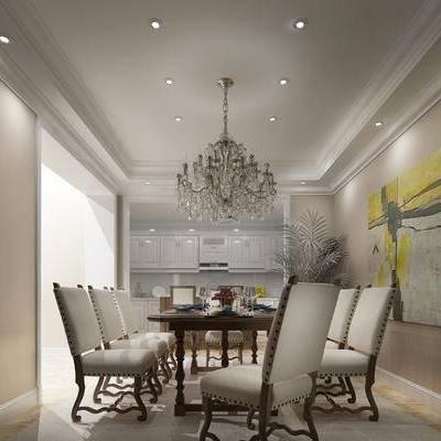现代餐厅, 吊灯, 桌子, 椅子, 壁画, 橱柜, 现代