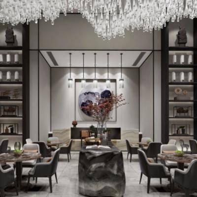 新中式售楼处, 沙发茶几组合, 吊灯, 组合摆件, 壁画, 储物架, 新中式