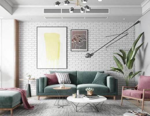 北欧, 客厅, 沙发, 茶几, 盆栽, 挂画, 吊灯, 吊椅