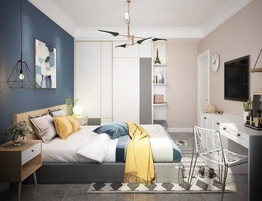 北欧, 卧室, 吊灯, 床, 床头柜, 台灯, 挂画, 地毯, 置物柜, 单椅, 钟表, 电视柜