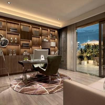 现代书房, 桌子, 椅子, 多人沙发, 置物柜, 盆栽, 地毯, 现代