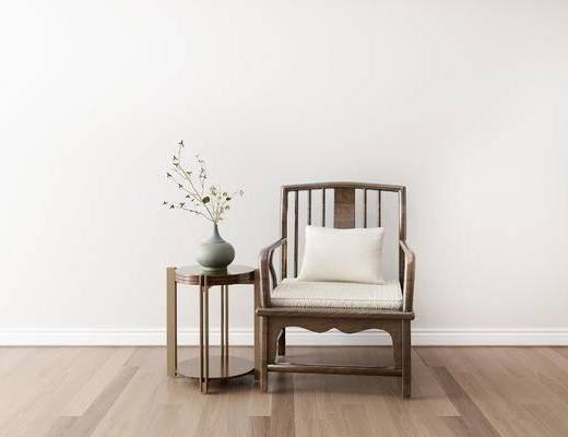 摆件组合, 圆几, 椅子, 花瓶, 新中式
