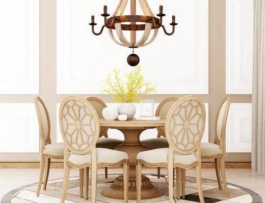 桌椅组合, 桌子, 椅子, 吊灯, 花瓶, 美式