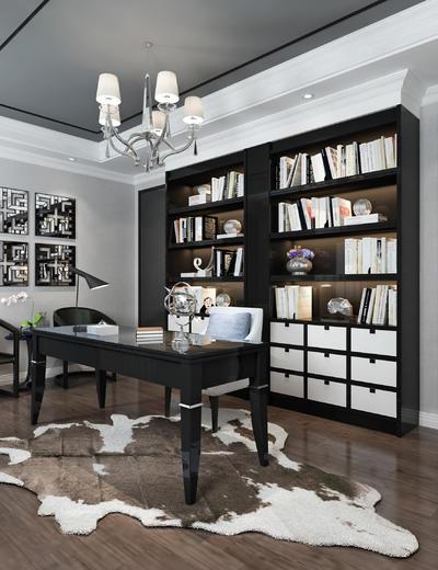 中式书房, 置物柜, 桌子, 椅子, 壁画, 台灯, 地毯, 中式