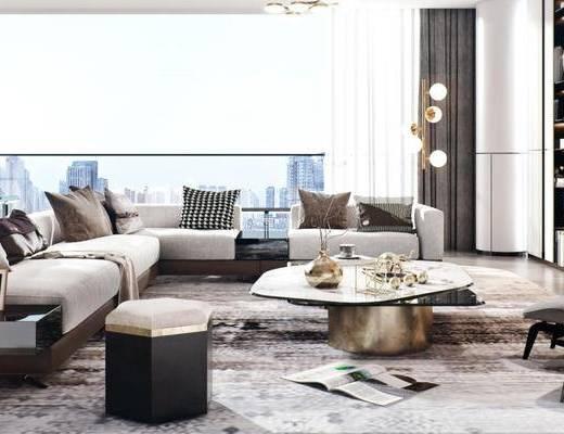 后现代客厅, 客厅餐厅, 沙发组合