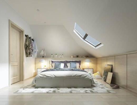 现代简约卧室, 床, 床头柜, 相框, 台灯, 窗户, 地毯, 现代简约