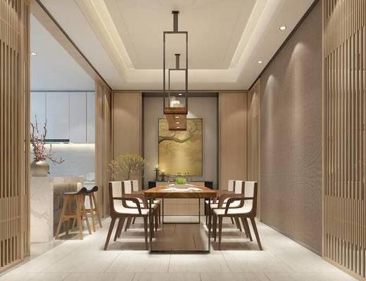 中式餐厅, 桌子, 椅子, 吊灯, 吧台, 吧椅, 中式