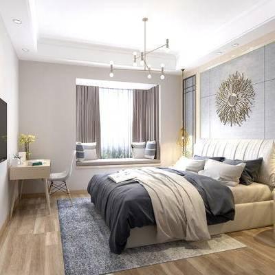 现代卧室, 双人床, 吊灯, 飘窗, 床头柜, 桌椅组合, 花瓶, 现代