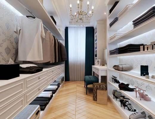 欧式衣帽间, 吊灯, 桌子, 椅子, 衣柜, 衣物, 欧式