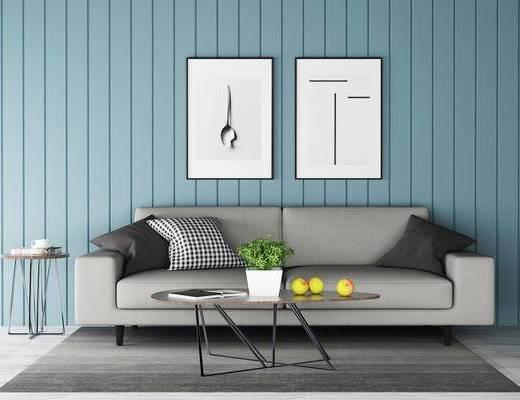 沙发组合, 双人沙发, 茶几, 壁画, 北欧