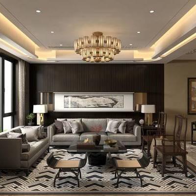 新中式客厅, 吊灯, 多人沙发, 椅子, 壁画, 边几, 台灯, 茶几, 地毯, 新中式