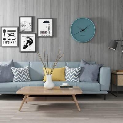 沙发组合, 多人沙发, 茶几, 壁画, 时钟, 边柜, 台灯, 北欧