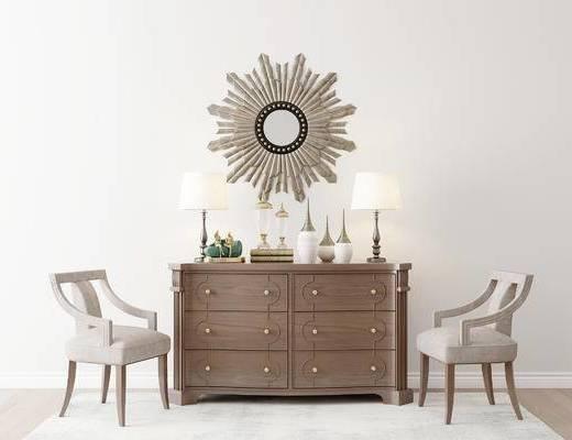 摆件组合, 装饰柜, 椅子, 台灯, 美式