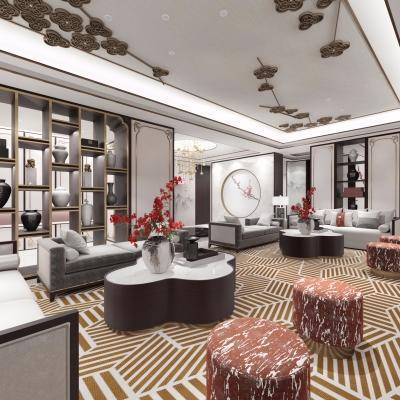 新中式客厅, 新中式沙发桌椅组合, 储物架, 壁画, 吊灯, 花瓶, 台灯, 摆件组合, 新中式