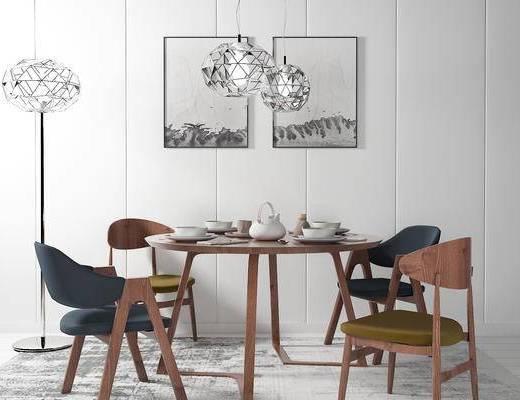 桌椅组合, 椅子, 桌子, 壁画, 吊灯, 落地灯, 现代