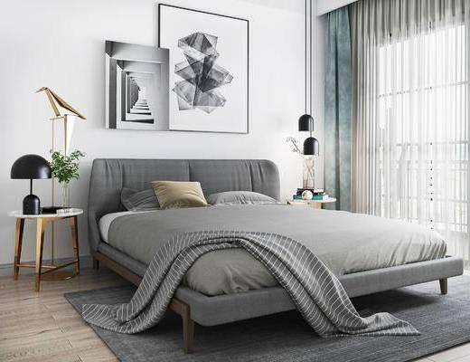 床具组合, 壁画, 双人床, 边几, 台灯, 北欧