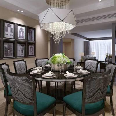 桌子, 椅子, 吊灯, 壁画, 多人沙发, 台灯, 新古典