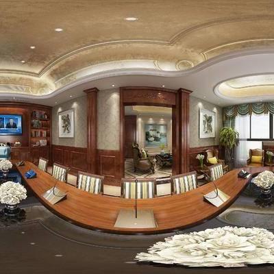 美式会议室, 会议桌, 椅子, 储物柜, 美式多人沙发, 沙发单椅, 盆栽, 边几, 台灯, 壁画, 美式