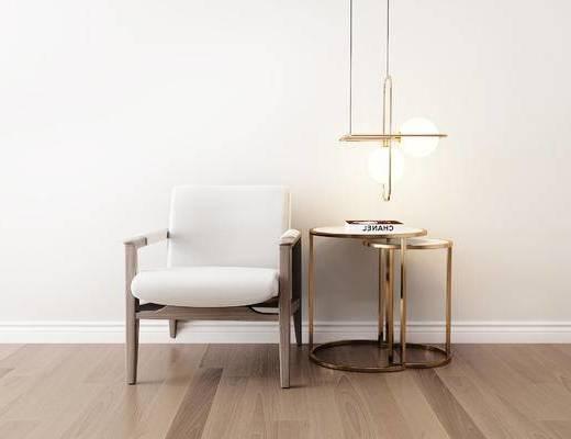 桌椅组合, 圆几, 吊灯, 单椅, 椅子, 现代