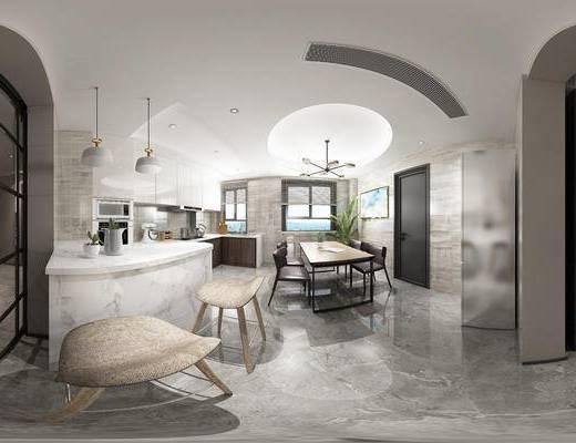 现代客餐厅, 吊灯, 桌子, 椅子, 橱柜, 吧台, 吧椅, 多人沙发, 现代
