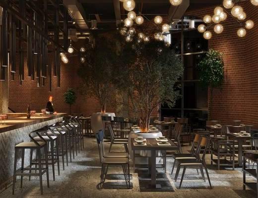 桌椅組合, 吊燈, 單椅, 吧臺