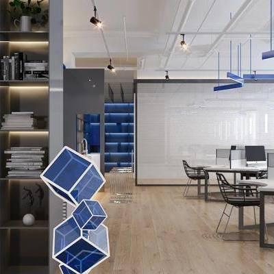 现代时尚办公室, 吊灯, 桌子, 椅子, 置物柜, 现代