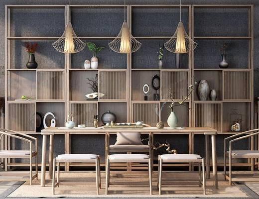 新中式, 桌椅组合, 吊灯, 置物柜, 陈设品组合