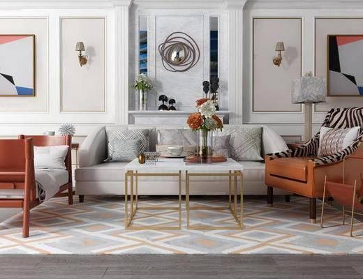 现代简约, 沙发茶几组合, 落地灯, 陈设品组合