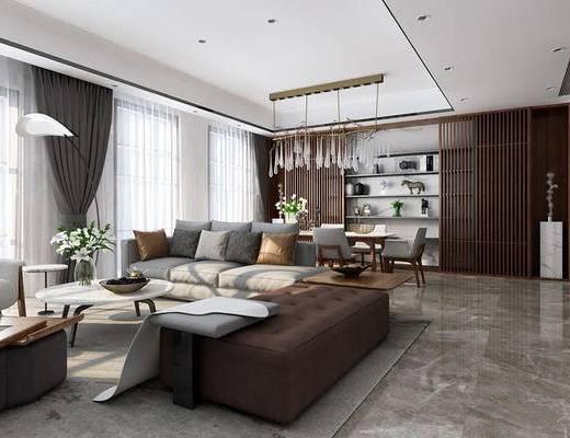 现代客厅, 餐厅, 沙发组合